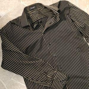 J. Ferrar Pinstripe Dress Long Sleeve Dress Shirt